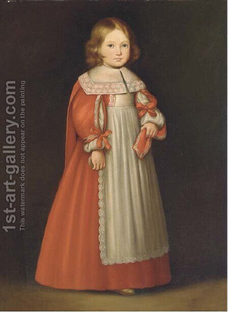 Portrait of a young girl, standing full-length, in a red and white dress by Cornelis De Vos - Reproduction Oil Painting