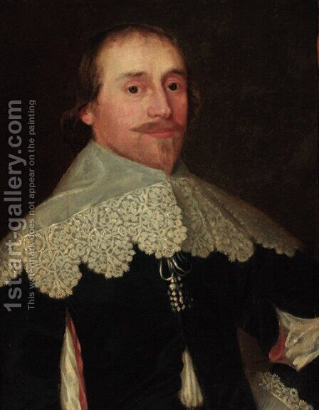 Portrait of a gentleman, bust-length, in a black doublet with lace collar by Cornelis I Johnson - Reproduction Oil Painting