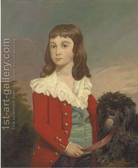 Portrait of a boy, half-length, in a red jacket, a dog by his side by (after) Daniel Gardner - Reproduction Oil Painting