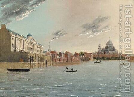 Somerset House and St. Pauls from the Thames by (after) Daniel Turner - Reproduction Oil Painting