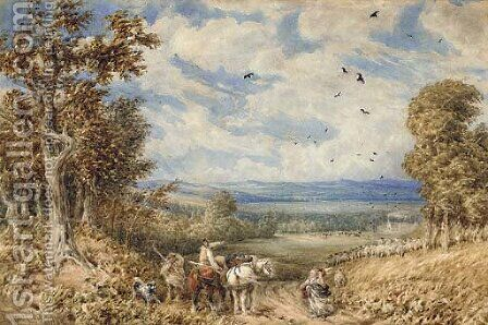 Asking for directions on a blustery day above the Vale of Clwyd by (after) David Cox - Reproduction Oil Painting