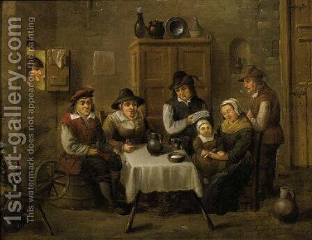A peasant family at table by David The Younger Teniers - Reproduction Oil Painting