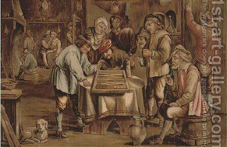 A game of backgammon by (after) David The Younger Teniers - Reproduction Oil Painting