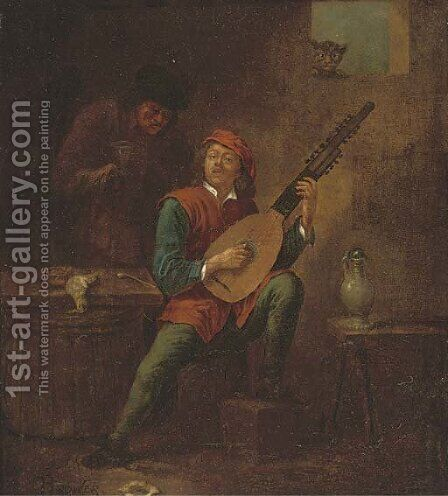 A man playing a lute in an interior by (after) David The Younger Teniers - Reproduction Oil Painting