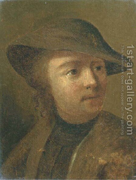 A peasant with a brown hat by (after) David The Younger Teniers - Reproduction Oil Painting