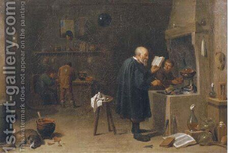 An alchemist in his workshop by (after) David The Younger Teniers - Reproduction Oil Painting