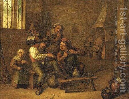Peasants drinking and smoking in an interior by (after) David The Younger Teniers - Reproduction Oil Painting