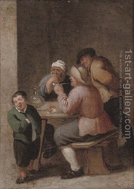 Peasants drinking and smoking in an interior 2 by (after) David The Younger Teniers - Reproduction Oil Painting