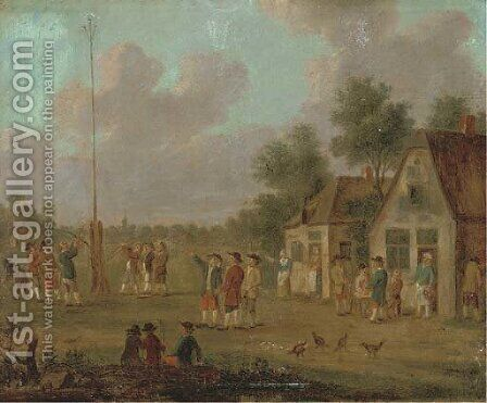 Peasants outside a tavern playing skittles; and Figures outside a tavern by a May pole by (after) David The Younger Teniers - Reproduction Oil Painting
