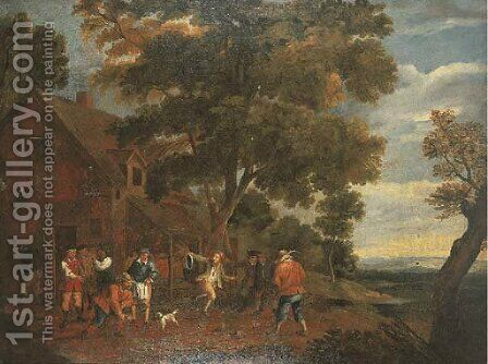 Peasants playing bowls outside an inn by (after) David The Younger Teniers - Reproduction Oil Painting
