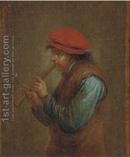 The flute player by (after) David Teniers - Reproduction Oil Painting