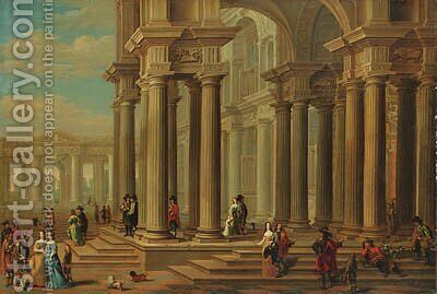 Capriccio of a Classical Forecourt with elegant Company promenading by (after) Dirck Van Delen - Reproduction Oil Painting