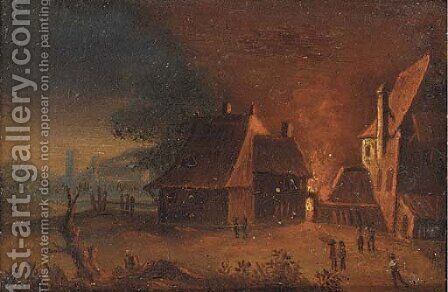 A fire at the farm by (after) Egbert Van Der Poel - Reproduction Oil Painting