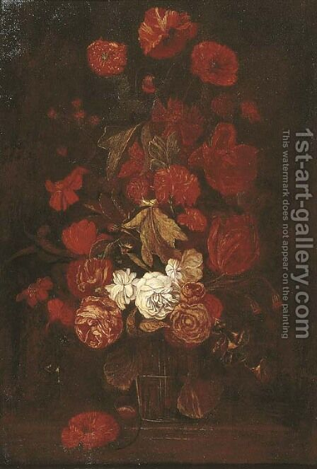 Roses and other flowers in a glass vase on a ledge by (after) Elias Van Den Broeck - Reproduction Oil Painting