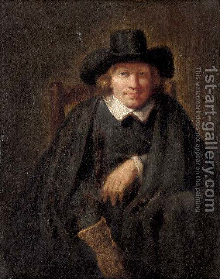 Portrait of a gentleman, seated, half-length, wearing a glove on his right hand by (after) Ferdinand Bol - Reproduction Oil Painting