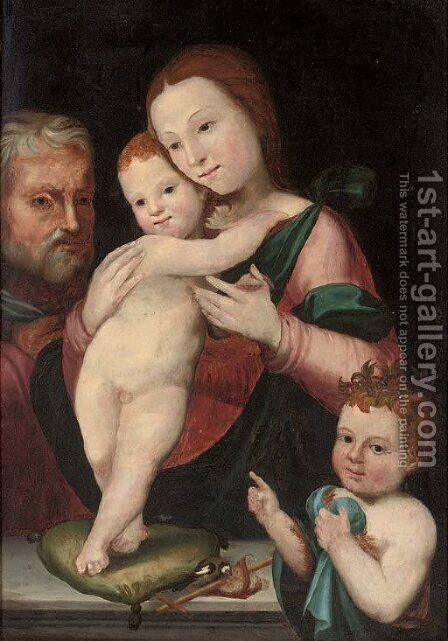 The Holy Family with the Infant Saint John the Baptist by (after) Francesco Francia - Reproduction Oil Painting