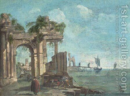 A capriccio of a Mediterranean harbour with figures amongst classical ruins by (after) Francesco Guardi - Reproduction Oil Painting