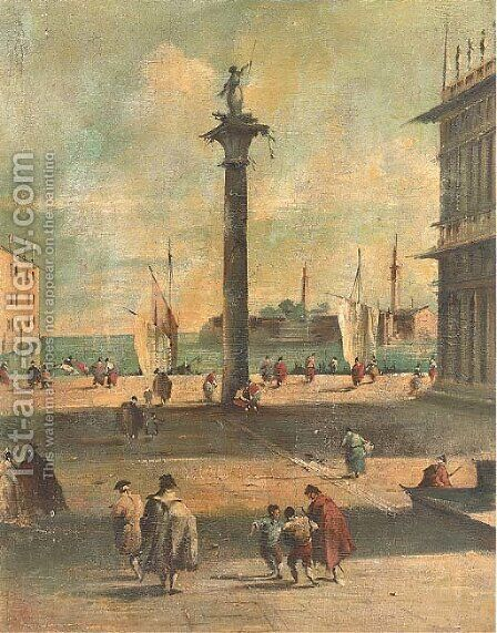 A Venetian capriccio by (after) Francesco Guardi - Reproduction Oil Painting
