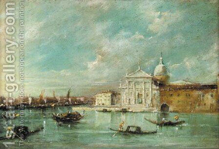 Gondolas by San Giorgio Maggiore, Venice by (after) Francesco Guardi - Reproduction Oil Painting