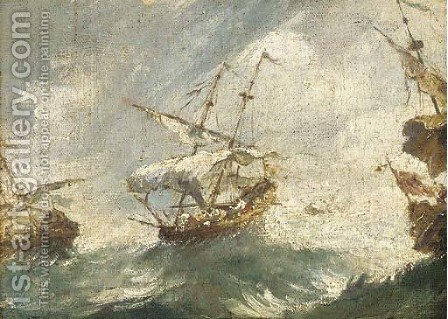 Shipping in stormy seas by (after) Francesco Guardi - Reproduction Oil Painting