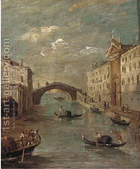 The Rio dei Mendicanti, Venice by (after) Francesco Guardi - Reproduction Oil Painting