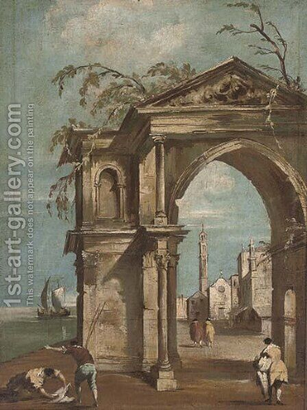 A Venetian capriccio with figures by a classical arch by (after) Francesco Guardi - Reproduction Oil Painting