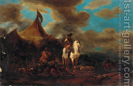 A cavalier before a military encampment by (after) Francesco Simonini - Reproduction Oil Painting