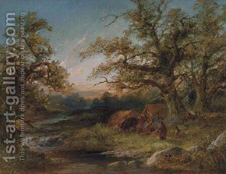 A gypsy encampment at dusk by (after) Frederick Henry Henshaw - Reproduction Oil Painting