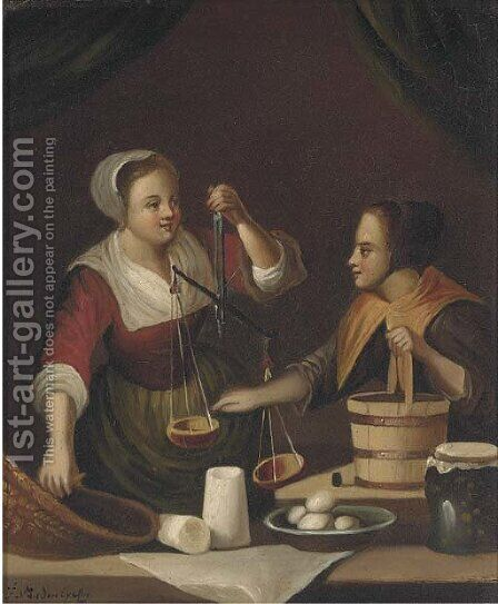 Balancing the scales by (after) Gabriel Metsu - Reproduction Oil Painting