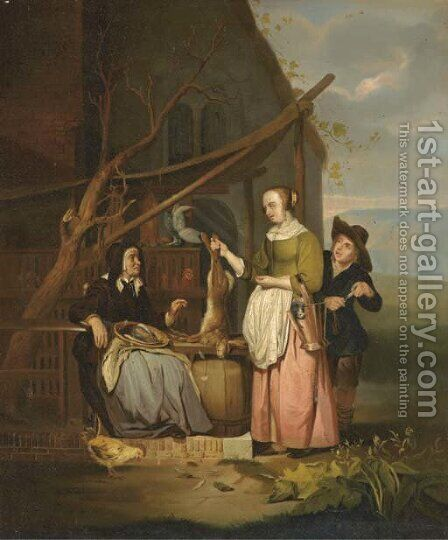 The poultry seller 2 by (after) Gabriel Metsu - Reproduction Oil Painting