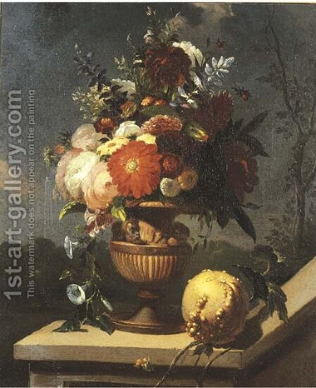 Roses and other flowers in a sculpted vase on a pedestal with an orange lying, an Italianate landscape beyond by Caspar Pieter I Verbrugghen - Reproduction Oil Painting