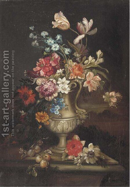 Tulips, carnations and other flowers in a vase with a butterfly and a dragonfly on a ledge by (after) Gaspar-Pieter The Younger Verbruggen - Reproduction Oil Painting
