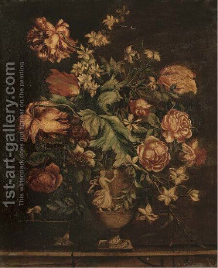 Parrot tulips, roses, narcissi and other flowers in sculpted urn by (after) Gaspar-Pieter The Younger Verbruggen - Reproduction Oil Painting