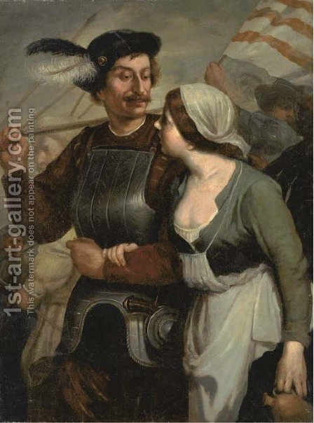A soldier leaving for battle with a woman by his side by (after) Gerard Seghers - Reproduction Oil Painting
