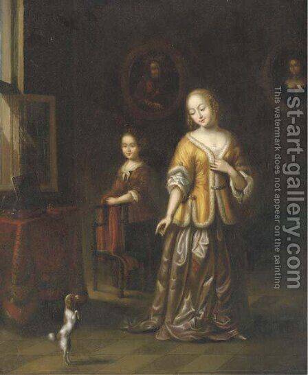 A lady in an elegant interior with a dog and a maid by (after) Gerard Ter Borch - Reproduction Oil Painting
