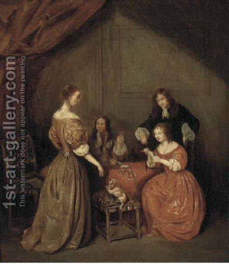 Elegant company playing cards in an interior by (after) Gerard Ter Borch - Reproduction Oil Painting