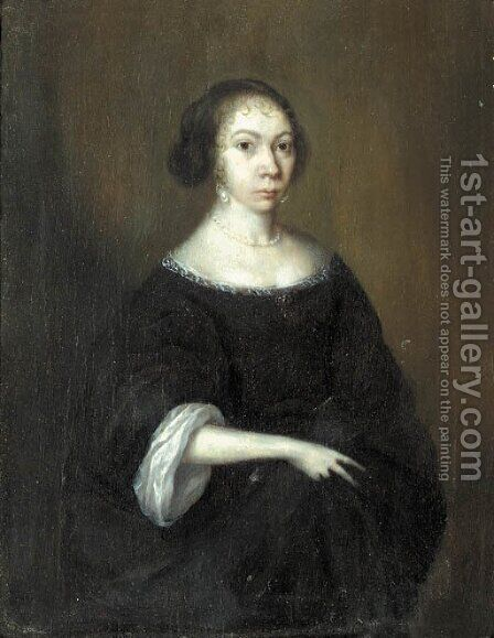 Portrait of a lady, standing small three-quarter length, wearing a black dress with lace chemise, pearl necklace and pearl earrings by (after) Gerard Ter Borch - Reproduction Oil Painting