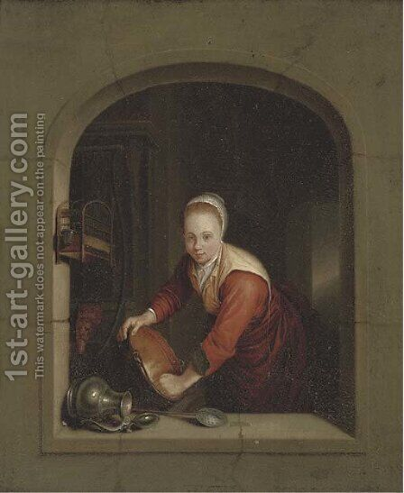A girl washing pans at a casement by (after) Gerrit Dou - Reproduction Oil Painting