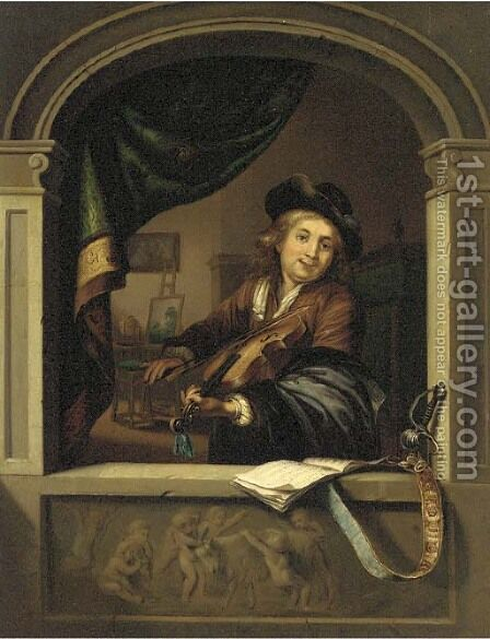 A violin player at a casement by (after) Gerrit Dou - Reproduction Oil Painting