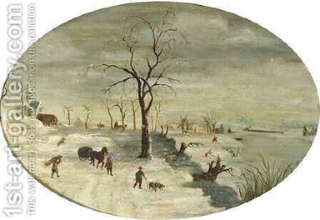 A winter landscape with figures on the ice by (after) Gijsbrecht Leytens - Reproduction Oil Painting