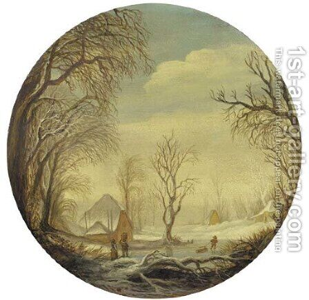 A winter landscape with figures on the ice, a farm beyond by (after) Gijsbrecht Leytens - Reproduction Oil Painting