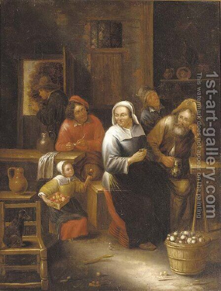 Peasants in a tavern by (after) Gillis Van Tilborch II - Reproduction Oil Painting