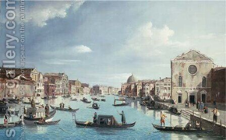 The Grand Canal, Venice looking north-east from Santa Croce to San Geremia by (Giovanni Antonio Canal) Canaletto - Reproduction Oil Painting