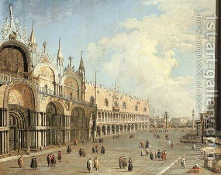 The Piazza San Marco and the Doge's Palace, Venice by (Giovanni Antonio Canal) Canaletto - Reproduction Oil Painting