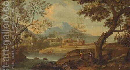 A wooded river landscape with fishermen and other figures by (after) Giovanni Battista Basiri - Reproduction Oil Painting