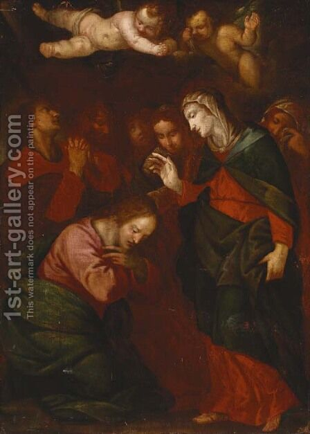 The Virgin Mary blessing Christ by (after) Giovanni Battista Langetti - Reproduction Oil Painting