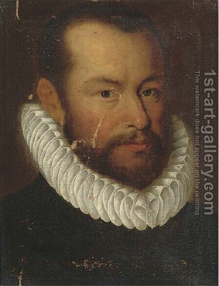 Portrait of a gentleman, bust-length, in a ruff by (after) Giovanni Battista Moroni - Reproduction Oil Painting