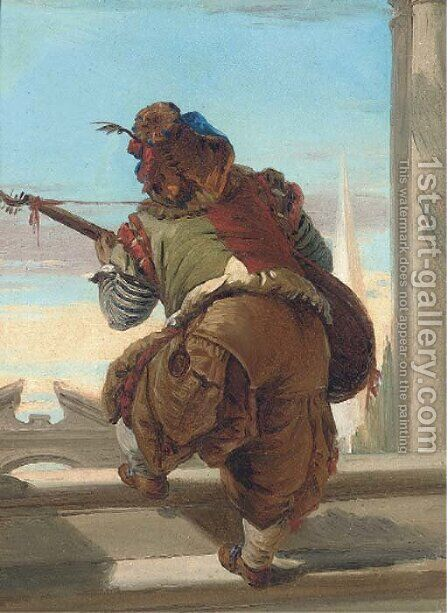 A dwarf playing a lute by (after) Giovanni Battista Tiepolo - Reproduction Oil Painting