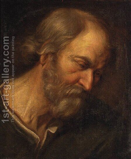 An old Man, head and shoulders by Giovanni Francesco Guercino (BARBIERI) - Reproduction Oil Painting