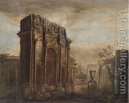 A capriccio of the Roman Forum by (after) Giovanni Paolo Panini - Reproduction Oil Painting
